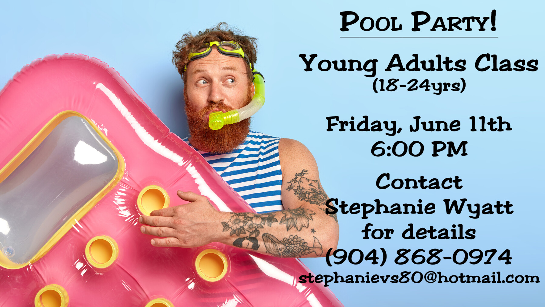 Young Adult Bible Study Class Pool Party